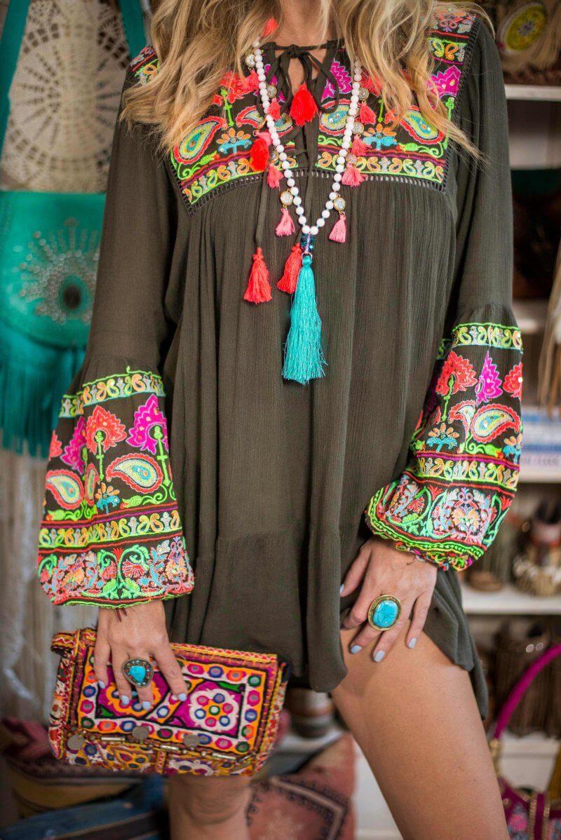 embroidered boho dress