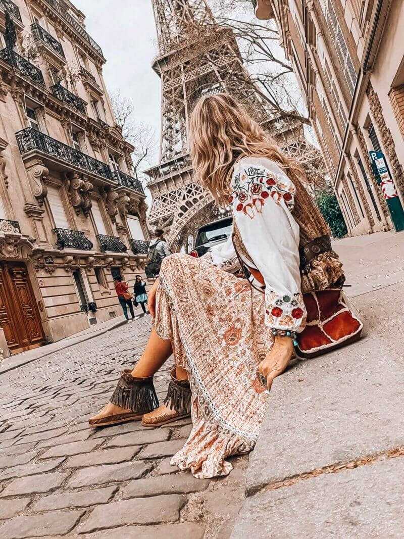 boho girl in Paris