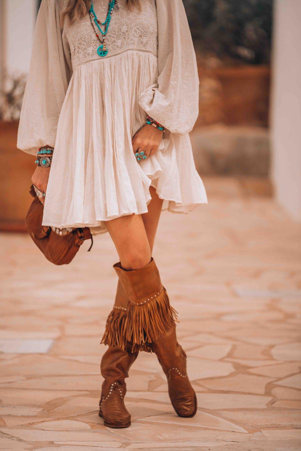 bohemian knee high boots