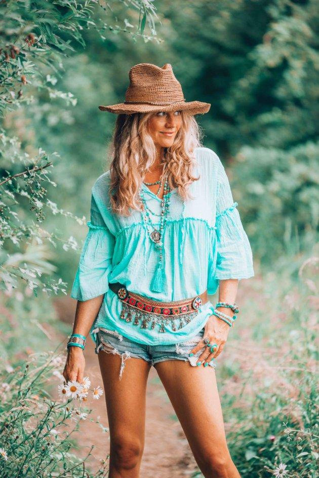 turquoise boho style tunic