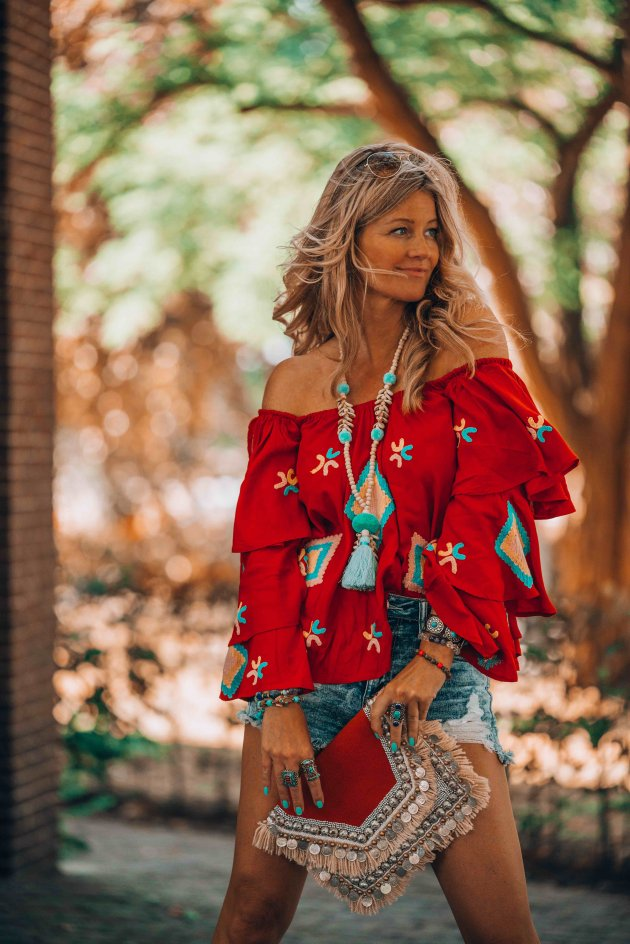 red bohemian blouse