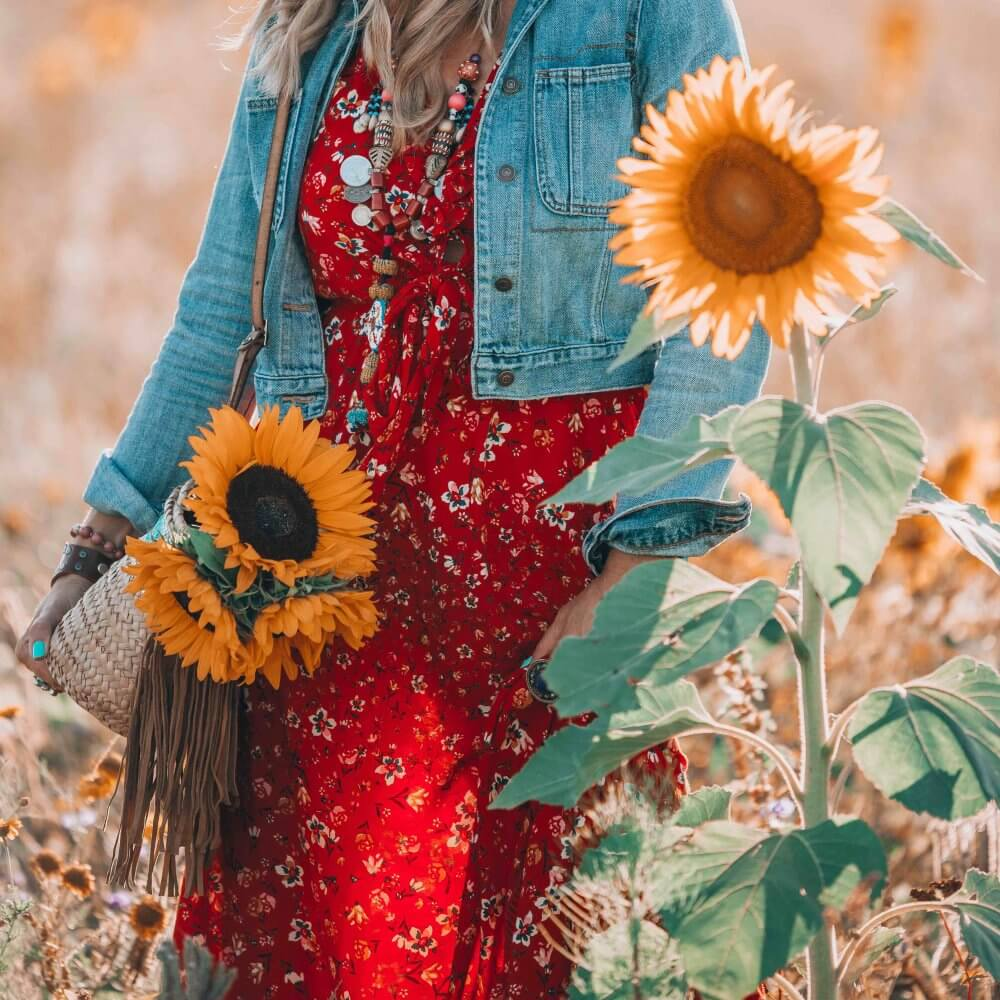 bohemian red dress