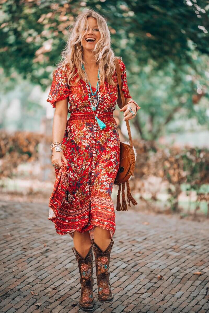 red dress bohemian style