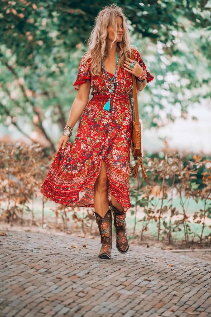 red dress bohemian style by Ibizabohogirl