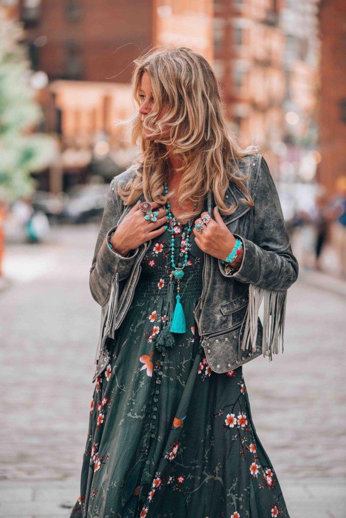 green dress bohemian style