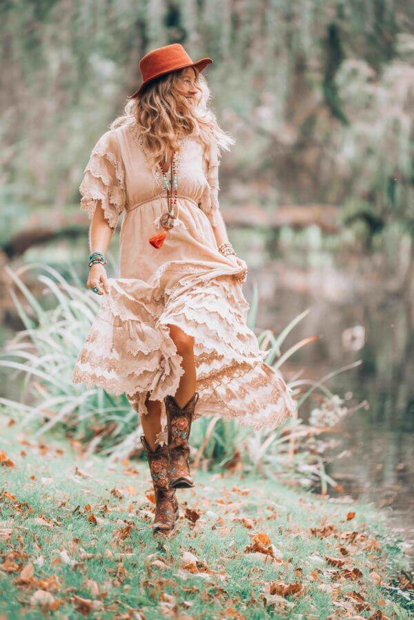 bohemian white maxi dress