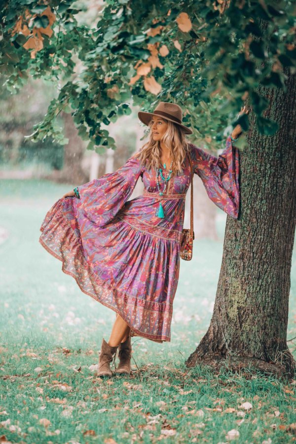 bohemian autumn dress