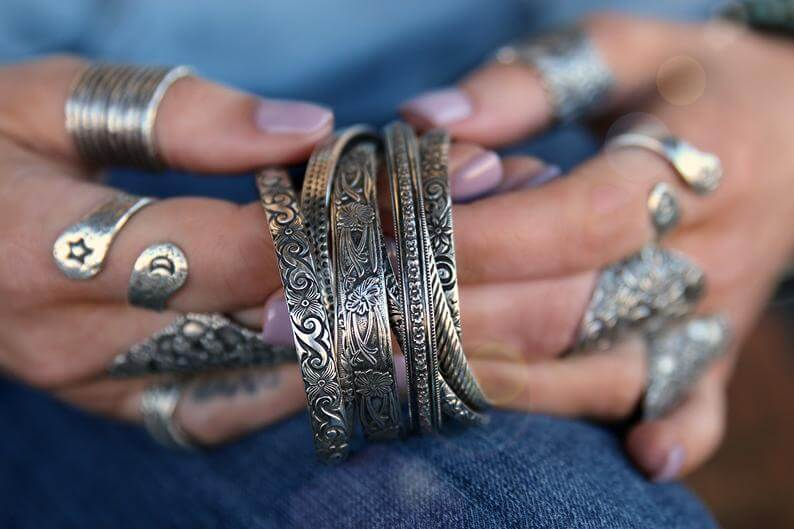 boho silver jewerly bracelets