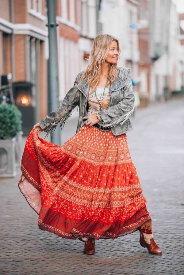 bohemian maxi skirt in red
