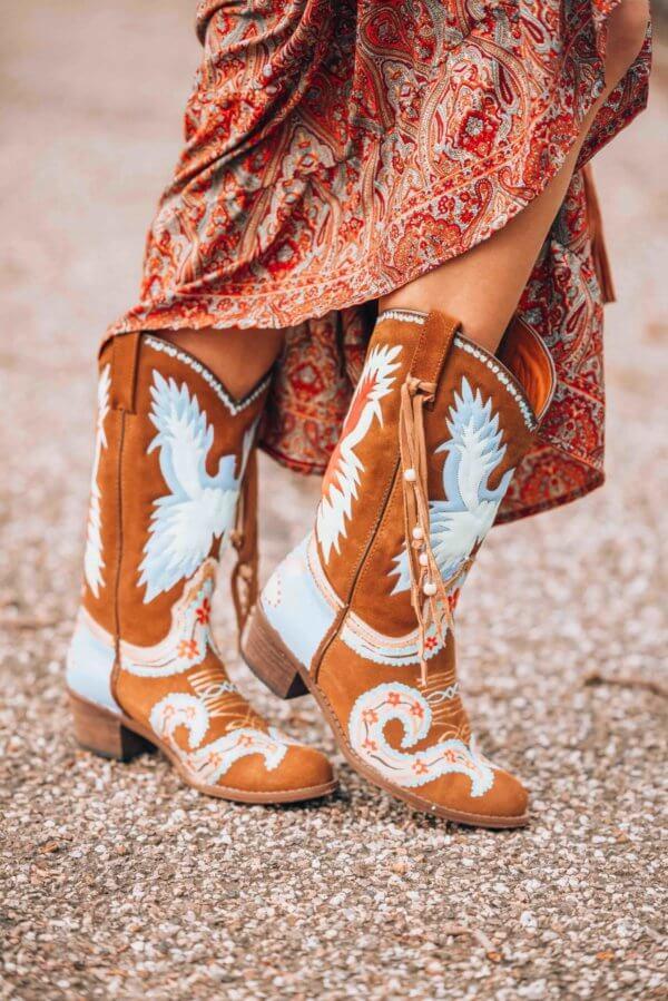 hand printed cowboy boots