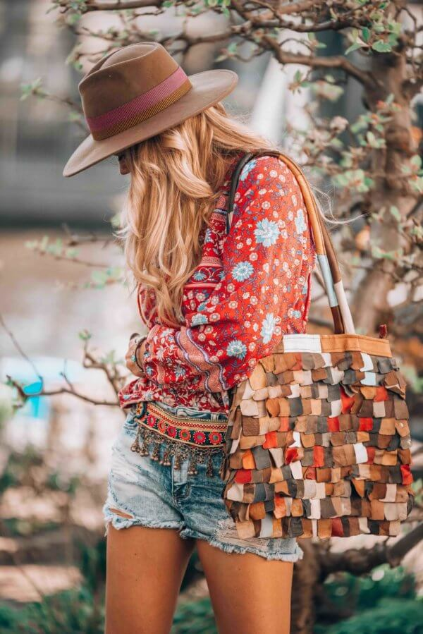 bohemian red blouse