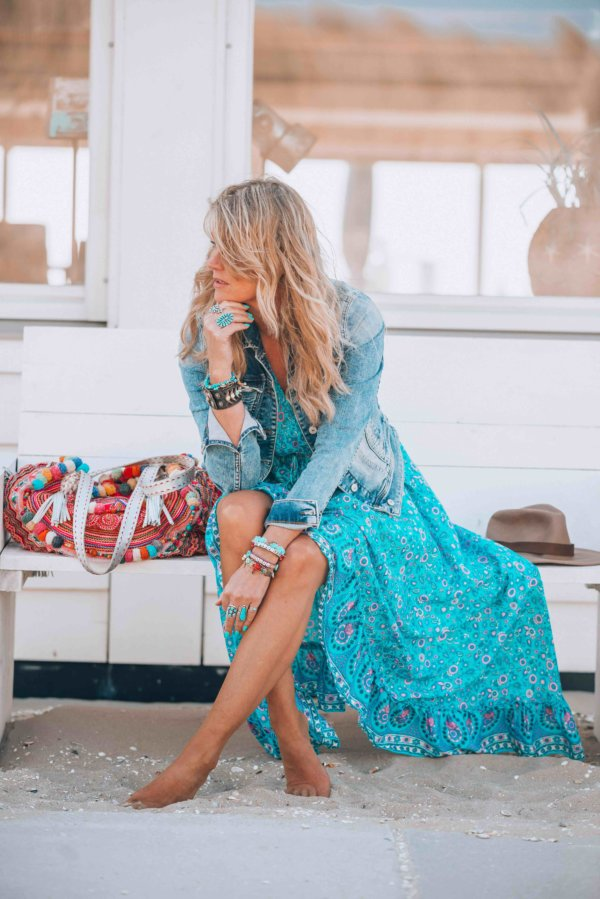 turquoise bohemian maxi dress