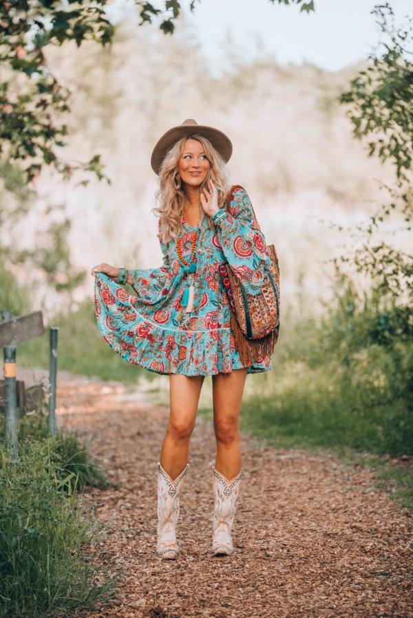 Ibizabohogirl wearing a cute little boho dress