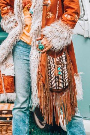 boho purse leather fringe